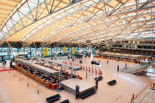 Hamburg Airport Terminal 1 is the main hub for Oneworld and SkyTeam alliance airlines.